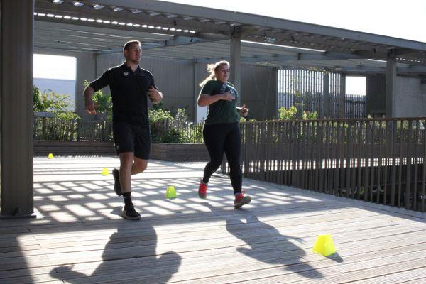 """Course """"suicide"""", exercice qui consiste à réaliser de nombreux sprints jusqu'à des repères de plus en plus éloignés"""