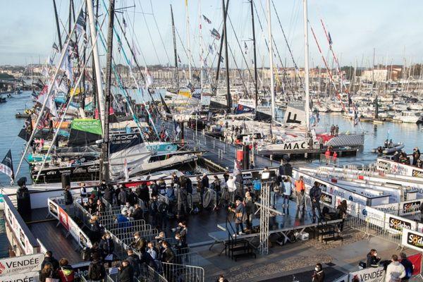 Les bateaux du Vendée Globe 2020 aux pontons des Sables d'Olonne, 8 novembre 2020