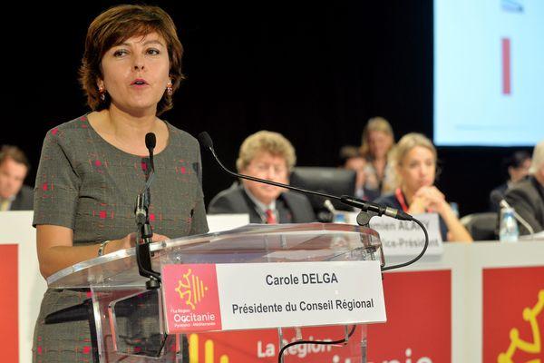 La présidente de la région Occitanie Carole Delga lors d'une assemblée plénière en 2017 à Montpellier.