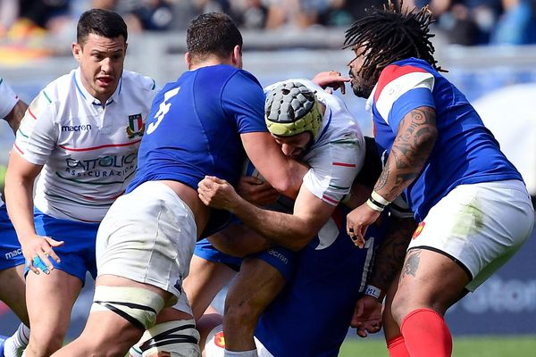 Action de Paul Willemse (MHR) lors du match contre l'Italie lors du tournoi des VI nations le 16 mars 2019