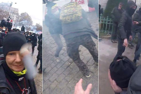 Trois images extraites des vidéos qui ont filmé l'incident