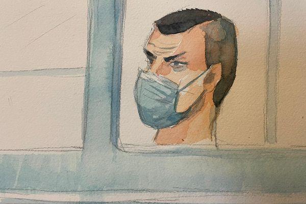 Loïc Vantal, dans le box des accusés, le 1er février 2021, au tribunal de Reims.