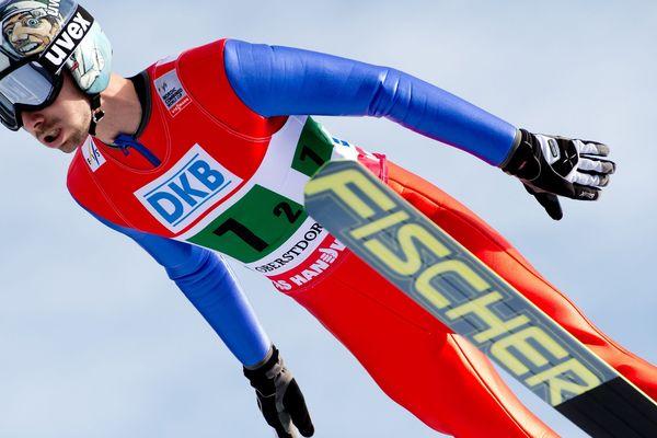 Maxime Laheurte en action le 25 janvier 2014 pendant la Coupe du Monde de combiné nordique à Oberstdorf (Alemagne).