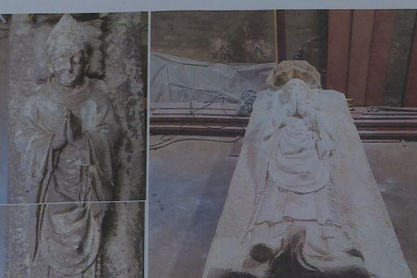La restauration du gisant de Simon de Gonçan, auparavant noirci par le temps, a permis de révéler des traces de peinture du XIVe siècle