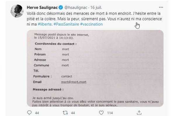 Le député de l'Ardèche Hervé Saulignac a publié le courrier menaçant reçu par mail et adressé à plusieurs députés