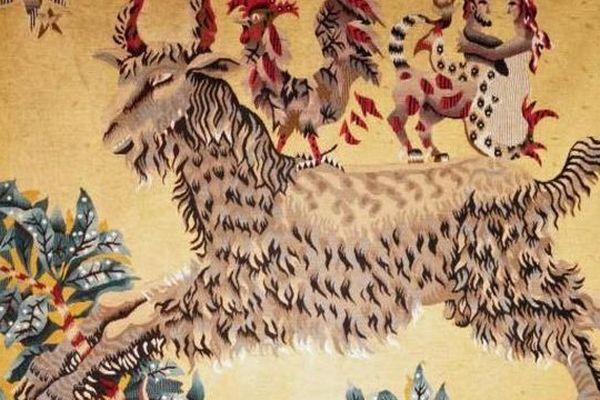 """""""Le Bouc"""", tapisserie d'Aubusson signée Jean Lurçat, tissée dans les ateliers de Suzanne GOUBELY"""