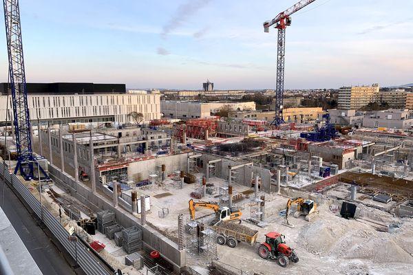 Le chantier du CHU de Reims.