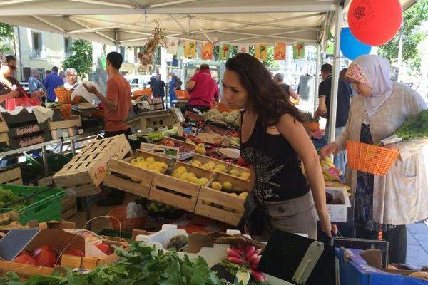 Le marché du plan Cabanes à Montpellier le 9 juin 2016