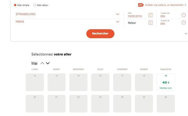 capture d'écran du site de réservation Ouigo