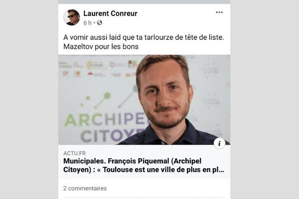 """Le message homophobe du collaborateur du groupe """"Toulouse Ensemble"""" a été publié sur Facebook."""