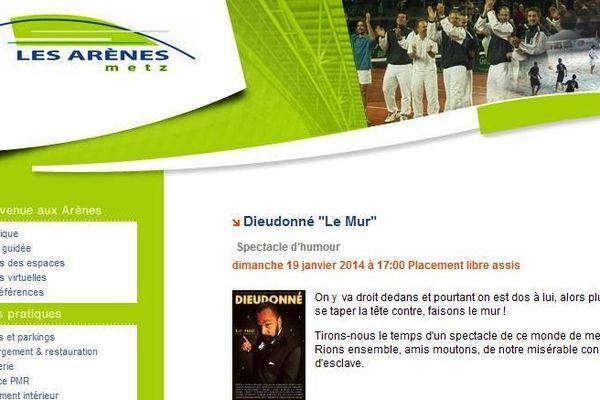 """Sur le site internet des Arènes, le spectacle annoncé dimanche reste """"Le Mur"""" et non sa version expurgée."""