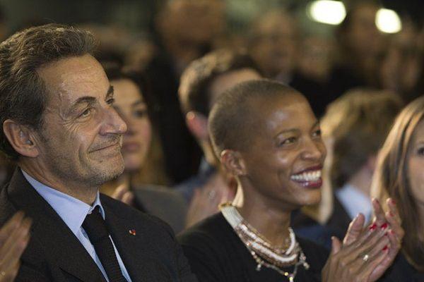 Nicolas Sarkozy assiste au premier meeting de Nathalie Kosciusko Morizet, candidate UMP à la mairie de Paris, au gymnase Japy, le 10 février 2014.