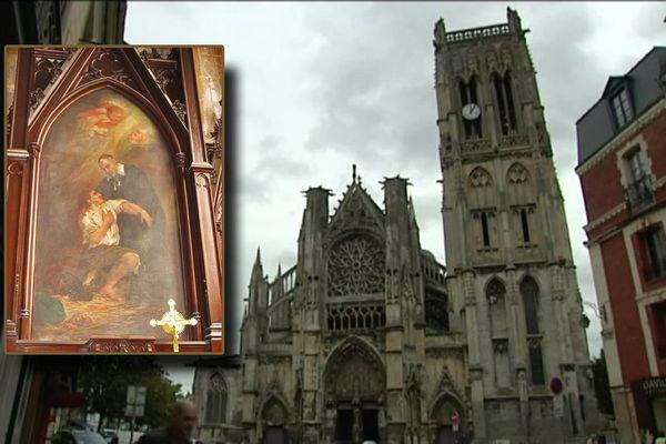 """L'église Saint-Jacques de Dieppe avec, en médaillon, l'une des œuvres volées et restituées : """"Saint-Vincent-de-Paul soignant un malade""""."""
