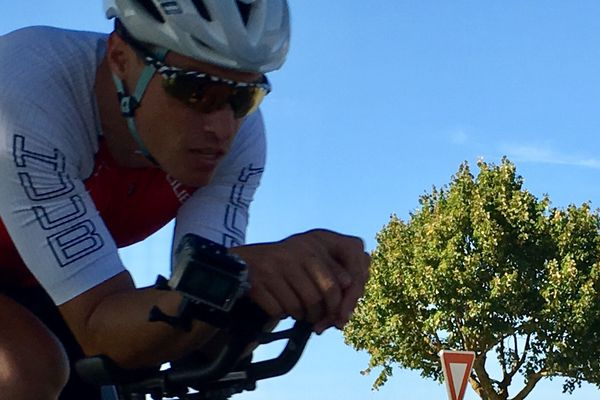 Sylvain Chavanel s'entraîne pour le triathlon de Royan
