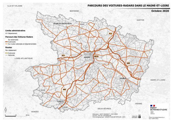 La carte des routes de Maine-et-Loire parcourues par les voitures-radar à compter du 1er décembre 2020