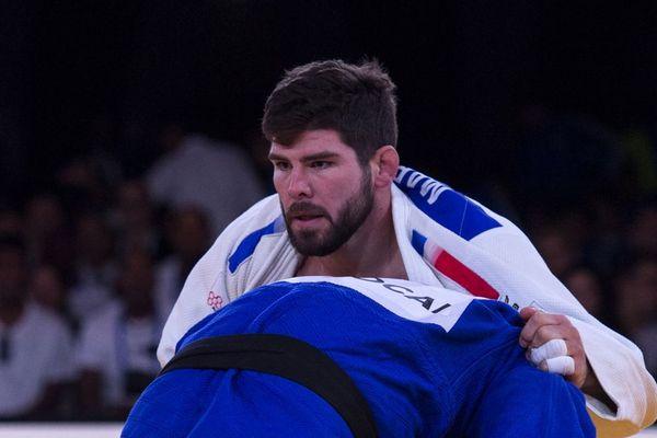 Cyrille Maret aux championnats du monde de judo toutes catégories à Marrakech, au Maroc, le 11 novembre 2017