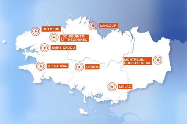 """Les 8 communes """"zones blanches"""" de réception de téléphonie mobile en Bretagne qui doivent être équipées d'un pylône"""