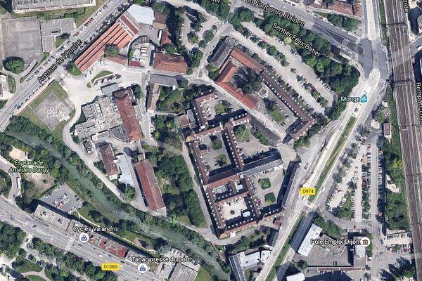 La vue aérienne des emprises de l'Hôpital Général à Dijon