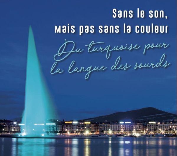 À Genève, un jet d'eau sur le Lac rend hommage aux sourds, en adoptant leur couleur
