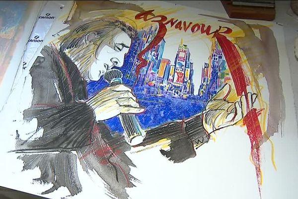 Le croquis de Charles Aznavour par José Correa en 2011