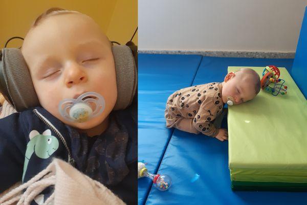 A gauche, Nathan se prête volontiers à la méthode de stimulation par les sons, dite Tomatis. A droite, après une séance de motricité. Programme chargé pour un petit garçon de 14 mois, mais il y met toute son énergie!