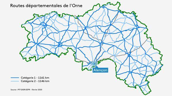 carte des routes à 90km/h dans l'Orne