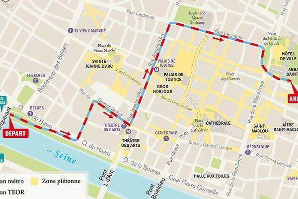 La carte du parcours du défilé des marins dans le centre-ville de Rouen.
