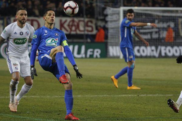 Match des 32eme de finale de la Coupe de France entre Grenoble GF38 (Ligue 2) et Strasbourg RC (Ligue 1), le 16 janvier 2019, au Stade des Alpes à Grenoble.