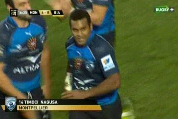 Top 14 : Montpellier-Biarritz. Timoci Nagusa inscrit le 1er essai du match à la 16ème minute de la rencontre. 29/12/2013