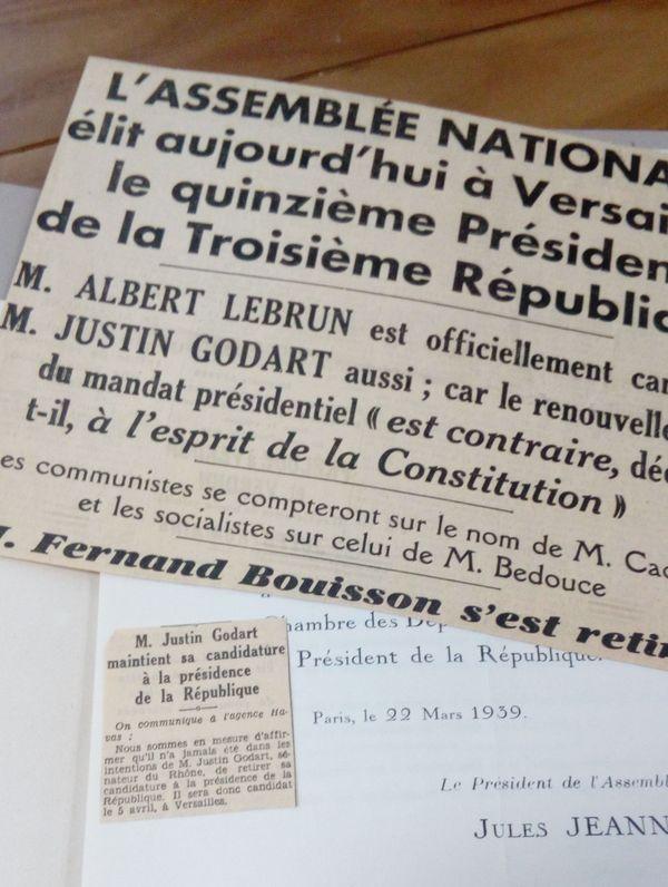 Le 15 avril 1939, Justin Godart est candidat à la Présidence de la République.