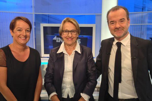 Marylise Lebranchu sur notre plateau avec Xavier Rolland et Christine Vilvoisin.
