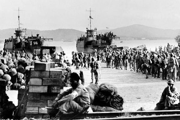 Photo prise en août 1944 lors du débarquement de troupes alliéés