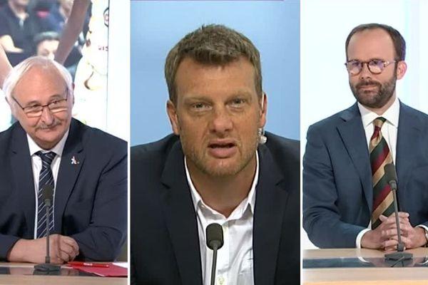 Jean-Paul Omeyer (à gauche), Christophe Morin(au centre) et Eric Berthomier (à droite) étaient les invités de Dimanche en politique ce 9 juin