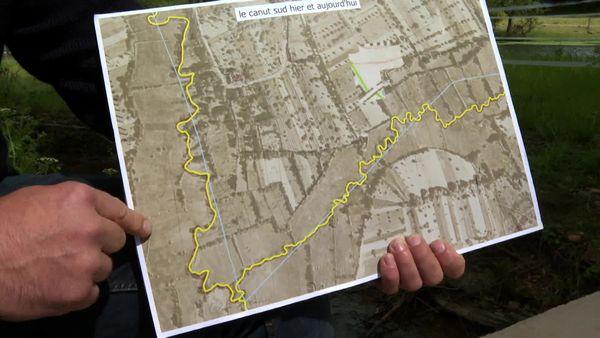 """Le tracé en jaune représente le cours d'eau originel, le tracé en bleu le cours d'eau actuel. """"On voit que les travaux de remembrement réalisés ont profondément modifié les écoulements, les paysages, le fonctionnement des cours d'eau"""" explique Fabien Bossière"""