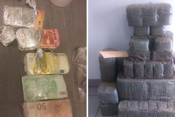 Démantèlement d'un trafic de drogues en Eure-et-Loir : 53kg de résine de cannabis, de l'héroine, de la cocaine et plus 63 000 euros en espèces ont été saisis à Arrou près de Châteaudun - sept 2018