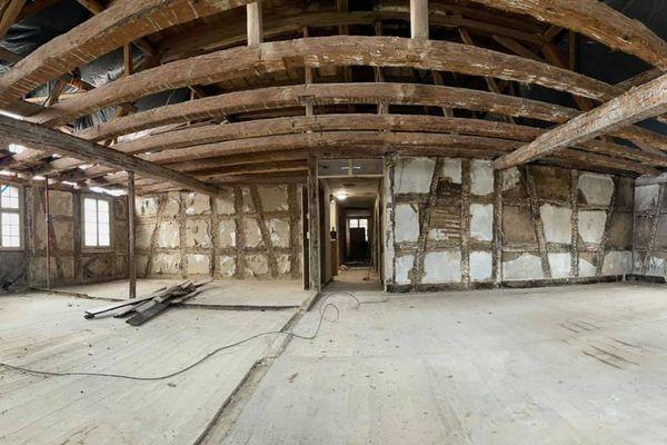 Une partie de la structure du bâtiment d'habitation