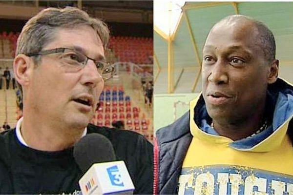 Christophe Maréchal, entraîneur du CDB, et Thierry Vamillier, entraîneur du HBC Semur