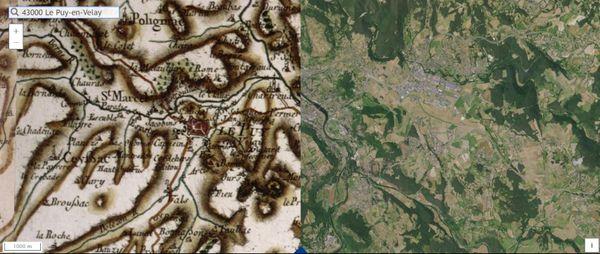La ville du Puy-en-Velay, en Haute-Loire, entre le 18ème siècle et des photos aériennes actuelles.