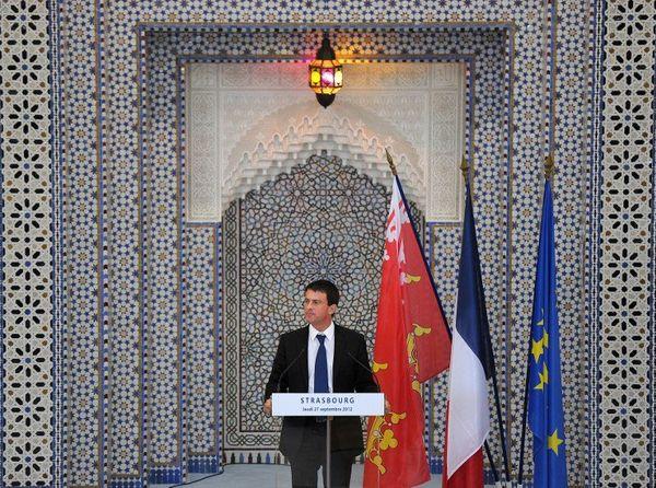 Manuel Valls 1er ministre à l'inauguration de la mosquée de Strasbourg, le 27 septembre 2012