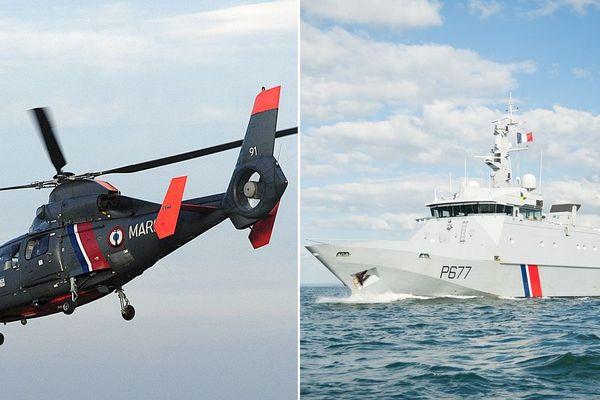 L'hélicoptère Dauphin et le patrouilleur Cormoran de la Marine nationale.