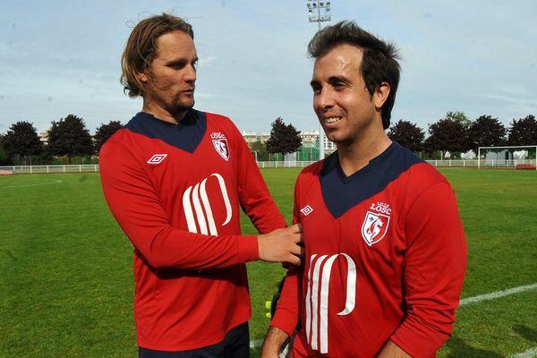 Mikkel Beck et Fernando d'Amico, anciens du LOSC, lors d'un match d'anciens face à Saint-Etienne en mai dernier.