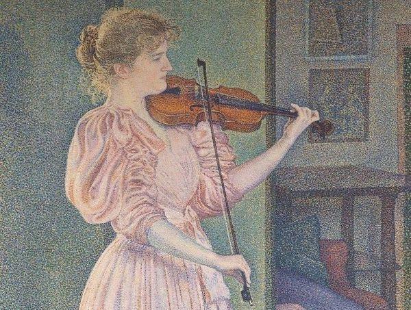Portrait de la violoniste Irma Sèthe (détail), Théo van Rysselberghe 1894
