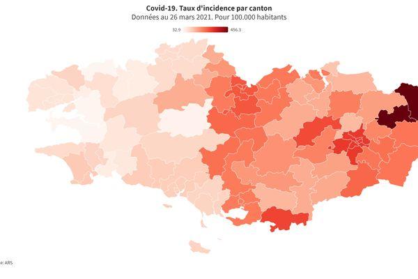 Taux d'incidence de la Covid-19 par canton en Bretagne