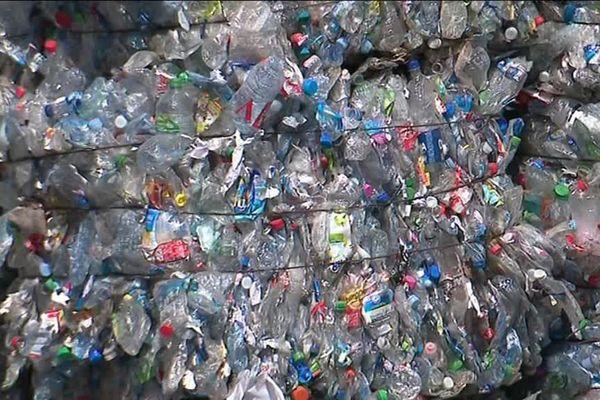 Les balles de bouteilles plastiques au centre de tri de Montpellier - mars 2019