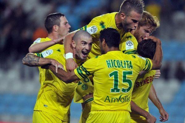 La joie des Nantais après le but de Djordjevic face à Sochaux à la Beaujoire