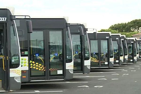 Nîmes - les bus tango en grève stationnés au dépôt - 2016.