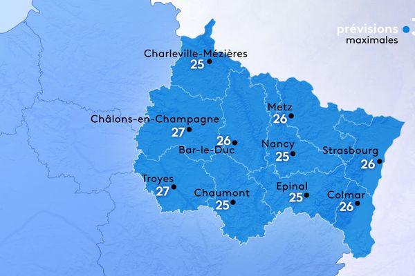 Les températures maximales sont comprises entre 25 et 27 degrés