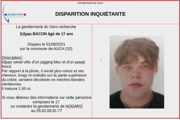 Kilyan Bacon, 17 ans, habitant Auch dans le Gers, n'a pas été vu depuis le 1er juin. La Gendarmerie du Gers lance un appel aux personnes qui pourraient avoir des informations concernant le jeune homme disparu.