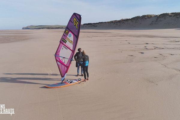 La plage de Wissant, Kamini et le windsurfeur Jules Denel