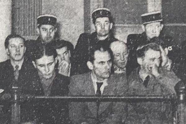 Les membres du gang d'Albert aux assises de la Somme - Une du Courrier picard du mardi 28 novembre 1950